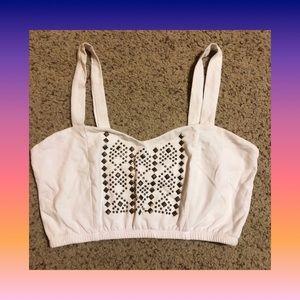 White studded crop top bra